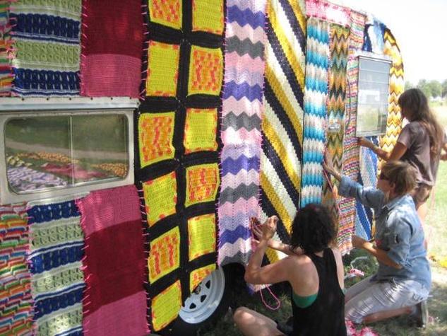 Guerilla knitting at Trans Pecos Festival in Marfa