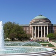 Dallas Hall from SMU campus with fountain