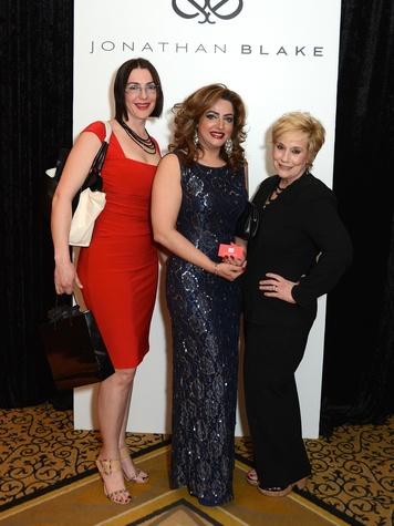 22 129 Andrea Nita, from left, Saira Ali and Joan Turley at the Jonathan Blake fashion party April 2014