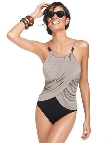 macys Magicsuit Swimsuit, Spaghetti-Strap Draped Colorblock One-Piece