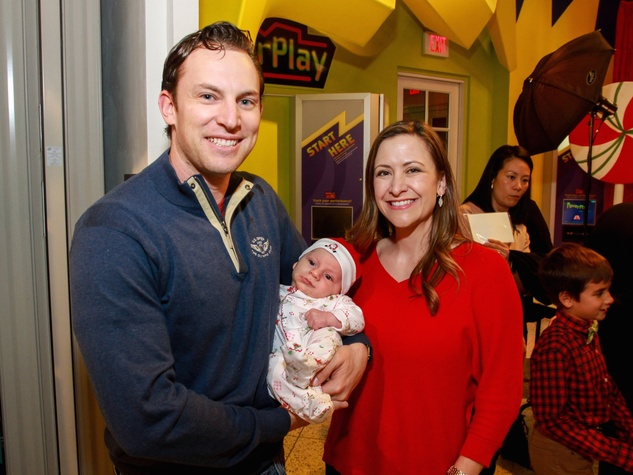 Children's Museum holiday party, Jed Lowrie, Milessa Lowrie and child