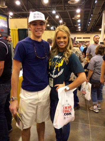 Kendall Jones at hunting expo NRG Park August 2014 with fan