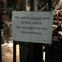 Hugo's closed sign January 2016