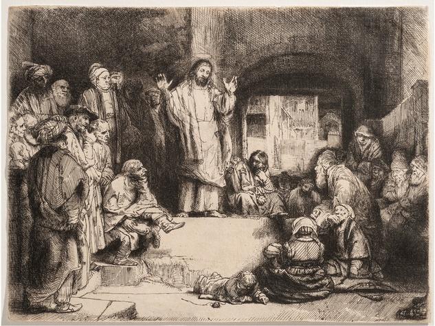 Tarra Gaines The Menil Gandhi exhibition October 2014 Rembrandt_Christ_Preaching