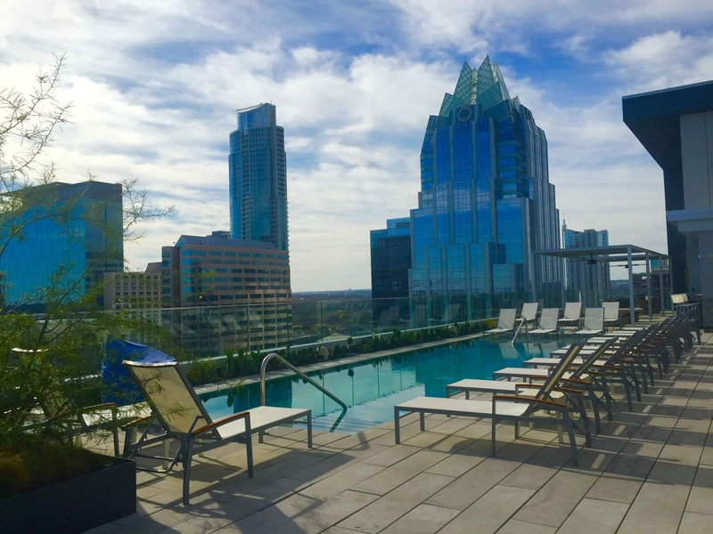 The Westin Austin Downtown hotel rooftop pool skyline