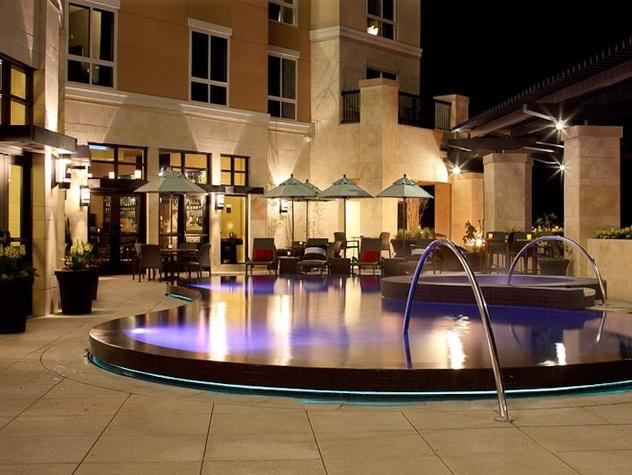 Hyatt Market Street Hotel in The Woodlands terrace swimming pool view