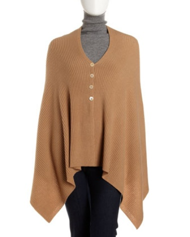 Neiman Marcus Button Ribbed Wool-Cashmere Cape, Camel