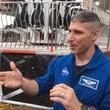 Astronaut Mike Hopkins explains the Future Flight ride at Super Bowl Live