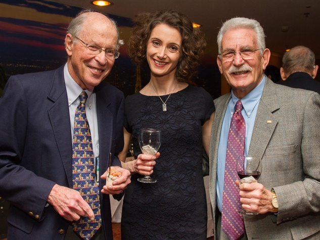 0284 Daniel Musher, from left, Lucile Agaisse and Allen Claman at Houston Friends of Chamber Music Red Violin event March 2014