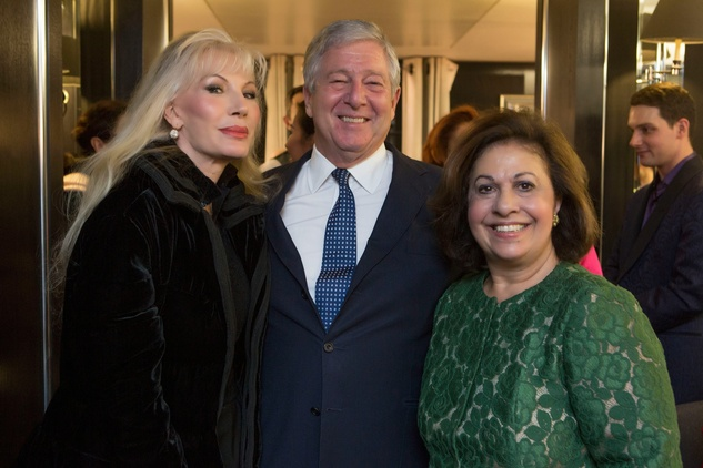 Donatella Flick and Their Royal Highnesses Prince Alexander and Princess Katherine of Serbia at Jonathan Blake trunk show in London