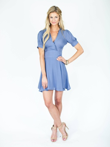 The Flare Dress in Slate Blue, 280, Morgan James