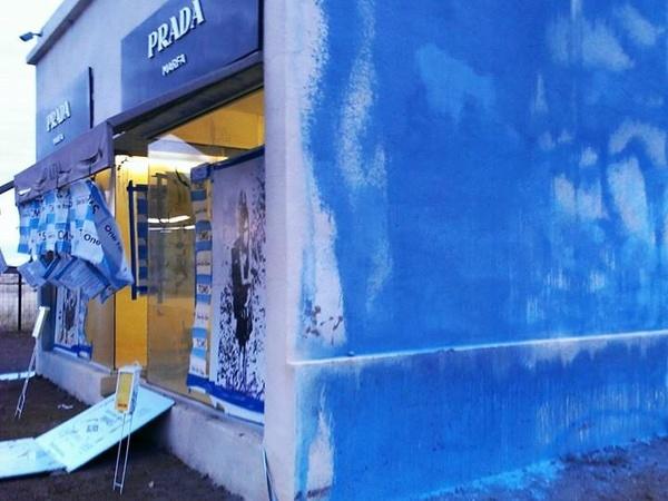prada tessuto saffiano shopping bag - Famed West Texas art installation Prada Marfa vandalized ...