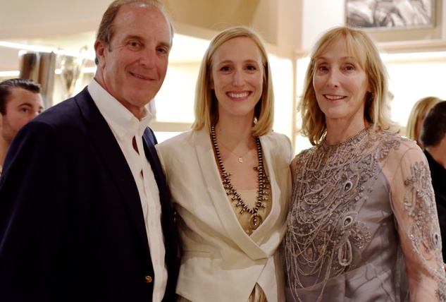 18 1799 John Muse, from left, Whitney Muse and Lyn Muse at the Lucchese Grand Opening February 2015