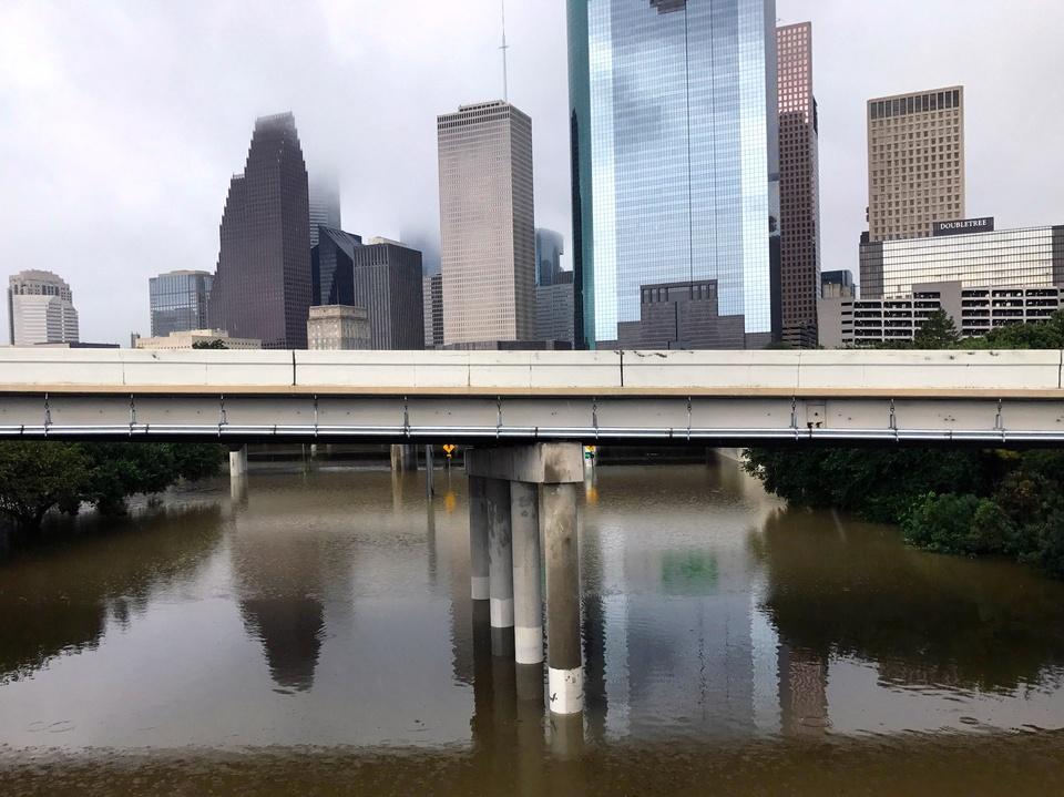 Houston, Hurricane Harvey, flood photos, Downtown from 45 Overpass