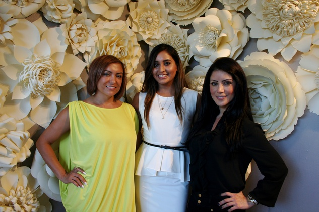 8 Karina Mazariegos, from left, Janet Mireles and Diane Angel at the Dress for Dinner kickoff in new David Peck Showroom September 2014.