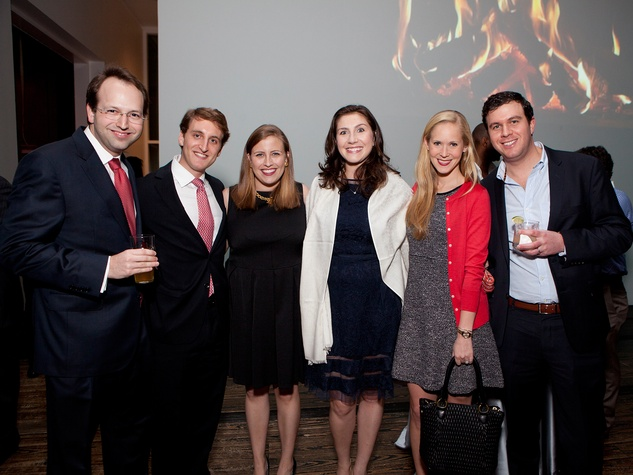 5 Ross Tomson, from left, Whitney Mears, Katie Mears, Elizabeth Gregory,  Margot Davis and Zach Davis at the Menil Young Professionals party December 2013