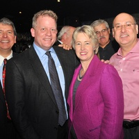 Roland Garcia, from left, David Robinson, Mayor Annise Parker and Gilbert Garcia at the Mayor's Hispanic Advisory Board Holiday Party December 2013