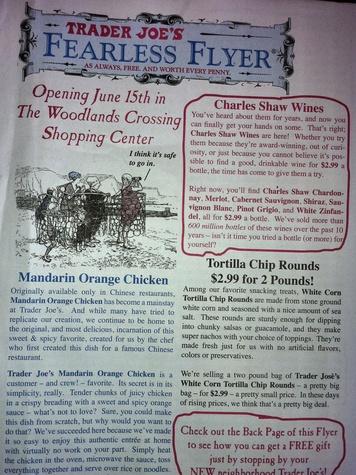 Trader Joe's, Woodlands, flyer