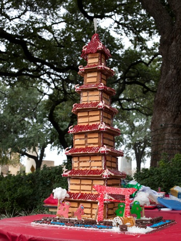 9 Annual AIA Gingerbread build-off December 2013 Tallest Structure PBK with Kung Fu Candy Crushers