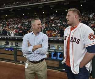 Reid Ryan, JJ Watt at Astros game