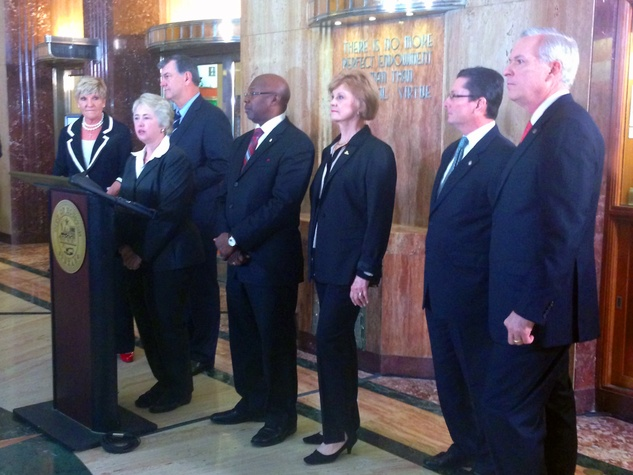 high-speed train rail Mayor Annise Parker and other mayors March 2014