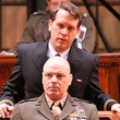 Jeremy Webb as Lt. j.g. Daniel A. Kaffee and Lee Sellars as Lt. Col. Nathan Jessep in the Alley Theatre's production of A Few Good Men
