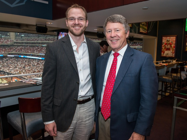 13 Robert Emmett, left, and Ed Emmett at the Houston Texans Owner's Suite party at NRG Stadium September 2014