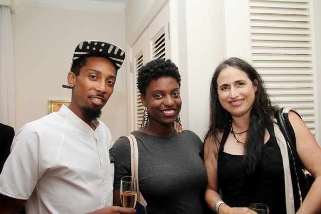 Jawwaad Taylor, from left, Ryan Dennis and Annette Eldridge at the Da Camera Jason Moran launch party September 2014