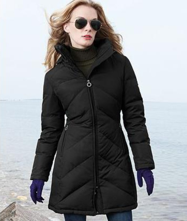 Calvin Klein Coat, Hooded Chevron-Quilted Puffer