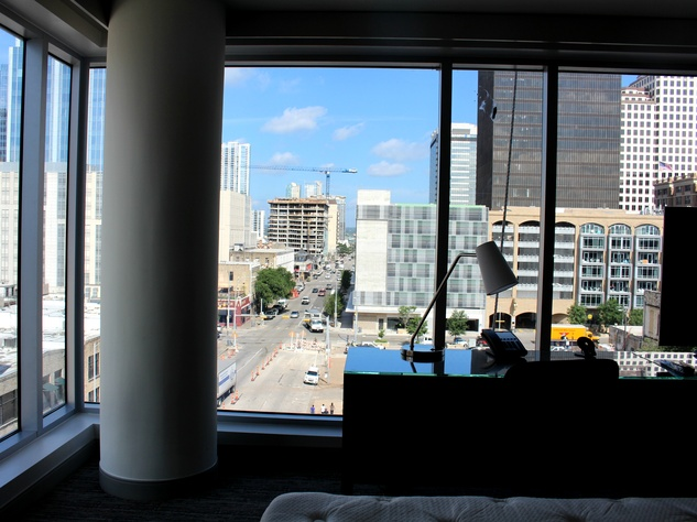 Westin Austin Downtown hotel guest room view desk 2015