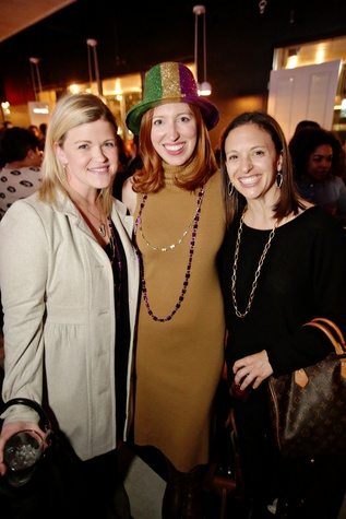 18 Sara Schleicher, from left, Charlotte Cameron and Emily Duncan at Gray's Public House Mardi Gras grand opening benefiting Urban Green February 2015