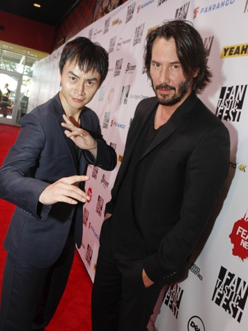 Tiger Chen and Keanu Reeves at Fantastic Fest premiere of Man of Tai Chi