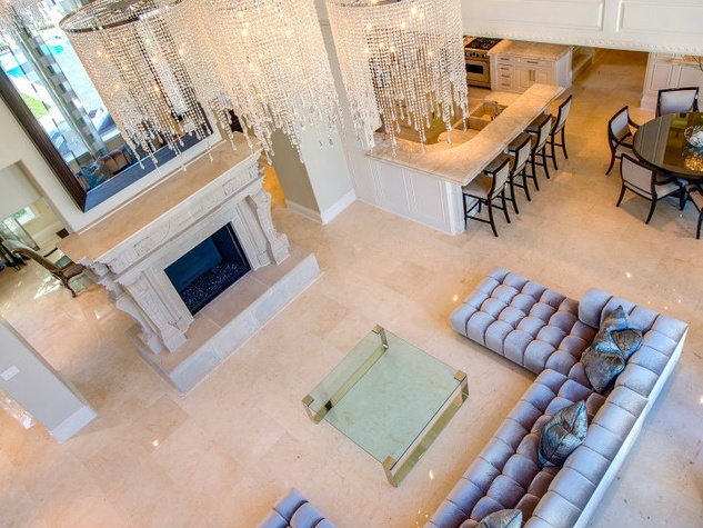 Living room aerial shot at 9625 Preston Rd. in Dallas