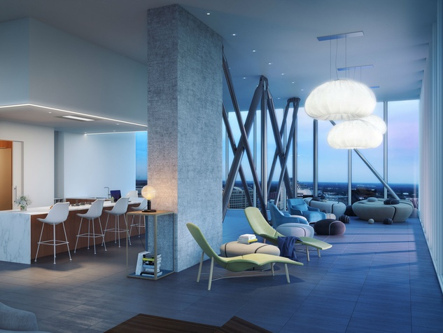 The Independent jenga tower downtown Austin 34th floor lounge rendering