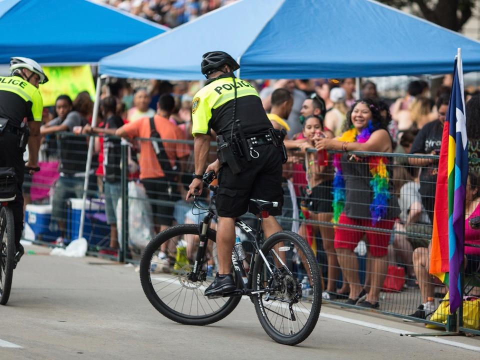 Houston Pride Parade 2016 police officer on bike