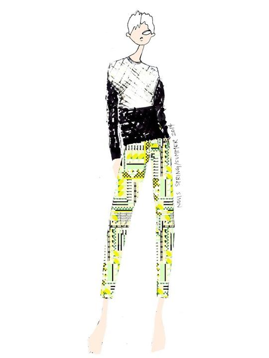 Fashion Week spring summer 2013 Novis by designer Jordana Warmflash sketch