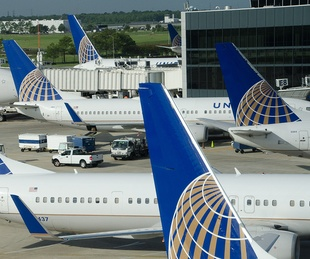 United Airlines airplanes tails at IAH Bush Intercontinental Airport