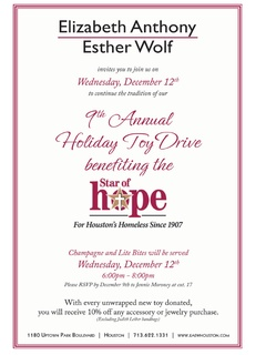 Ninth Annual Holiday Toy Drive benefiting the Star of Hope