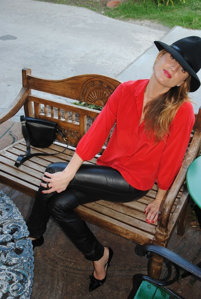 Lindley Arnoldy, leather pants, August 2012