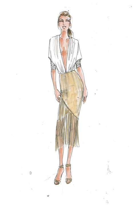 Serena Williams inspiration sketch for HSN collection at New York Fashion Week