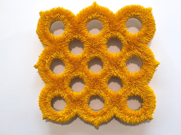 Lea Weingarten Armory Arts Week Fair Story March 2015 Image 7 Donald Moffett Lot 011715 (exo-spore 2, ore yellow), 2015 Oil on linen with wood panel support Marianne Boesky Gallery