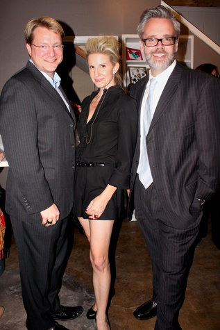 17 Michael Pierce, from left, Lori Freese and Matt Burrus at the Dress for Dinner kickoff in new David Peck Showroom September 2014