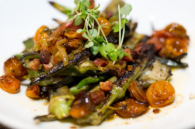 News, Shelby, Prohibition Supperclub, August 2014, Charred Okra Salad
