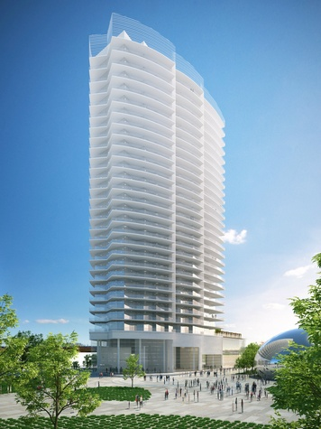 Rendering of Bleu Ciel high-rise condo in Dallas
