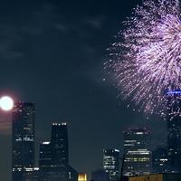 moon, fireworks, Houston, skyline