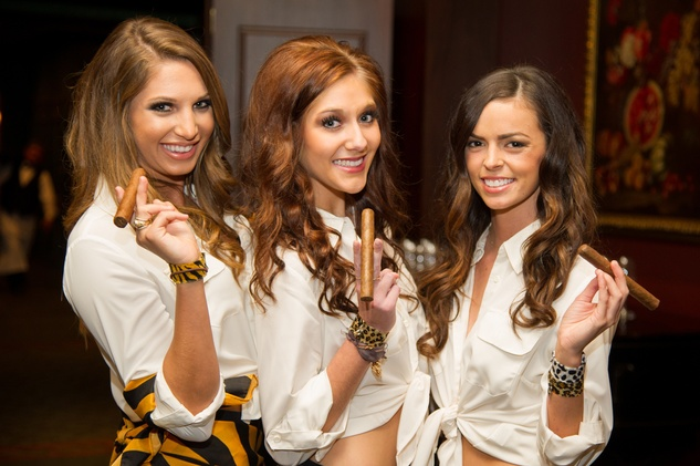 4 Cigar girls at the Alley Theatre's Wild Things dinner November 2013