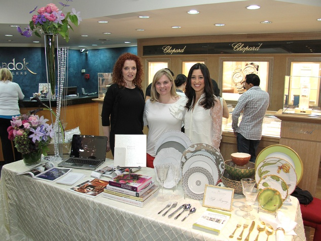3250, Zadok Jewelers, grand wedding band event, March 2013, Marya Davidson with David Brown Flowers, Elizabeth Swift and Liba Stern with Kuhl-Linscomb