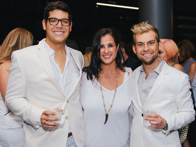 14 Armando Saenz, from left, Amy Kalmin and Taylor Hudgins at Ceron 50th birthday party August 2014