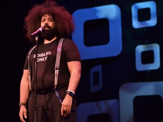 Reggie Watts performs at the Paramount Theater for Moontower Festival