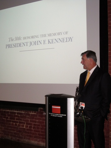 Mayor Mike Rawlings speaks at the Sixth Floor Museum at Dealey Plaza